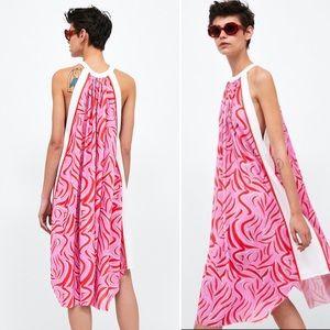 (NWT) Zara - Printed Halter Neck Dress